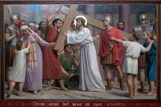 Kruisweg 2. Jezus neemt het kruis op Zijne schouders<br><br> 5002_Kruiswegstaatsies_4576.jpg