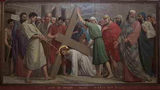 Kruisweg 3. Jezus valt de eerste maal onder het kruis<br><br> 5003_Kruiswegstaatsies_4578.jpg