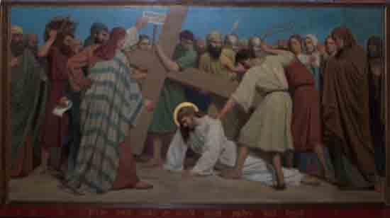 Kruisweg 9. Jezus valt voor de derde maal onder het kruis<br><br> 5009_Kruiswegstaatsies_4590.jpg