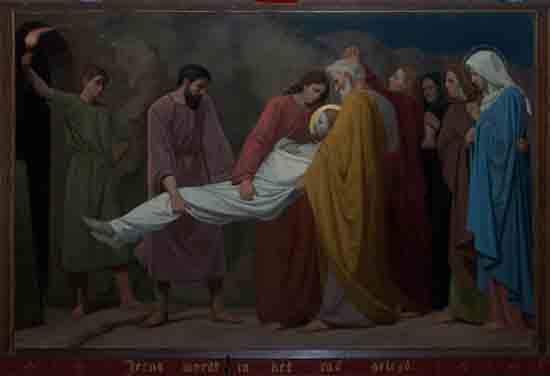 Kruisweg 14. Jezus wordt in het graf gelegd<br><br> 5014_Kruiswegstaatsies_4603.jpg