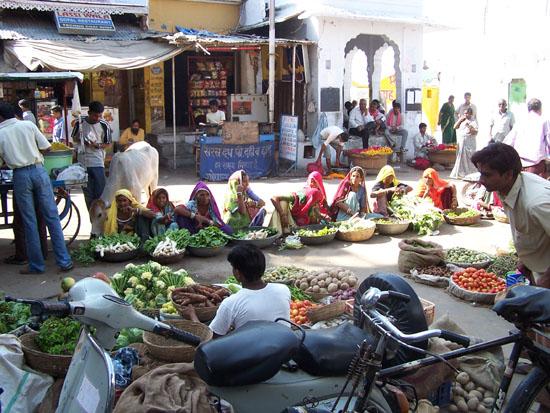 Pushkar Kleurige kleding van de groentenverkoopsters Mooi-uitgedoste-groenteverkoopsters-markt-Pushkar_3539.jpg