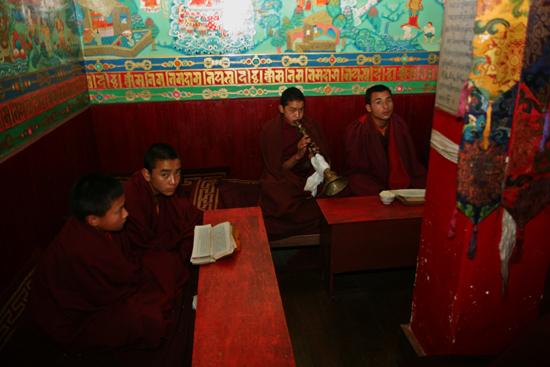 Darjeeling Monniken in het Dunggon Samten Choling Bhuddist Monastery klooster<br><br> 0110_3386.jpg