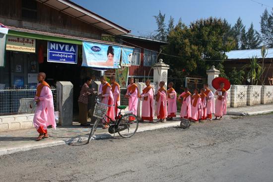 Inlemeer2 Inle meer - Nyaungshwe Jonge nonnen bedelen vroeg in de ochtend voor voedsel    3420_7414.jpg